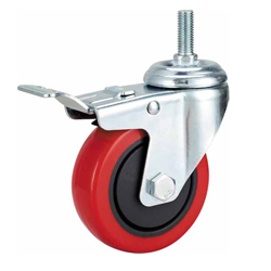 Medium Duty Red PU Caster Threaded Stem with Brake